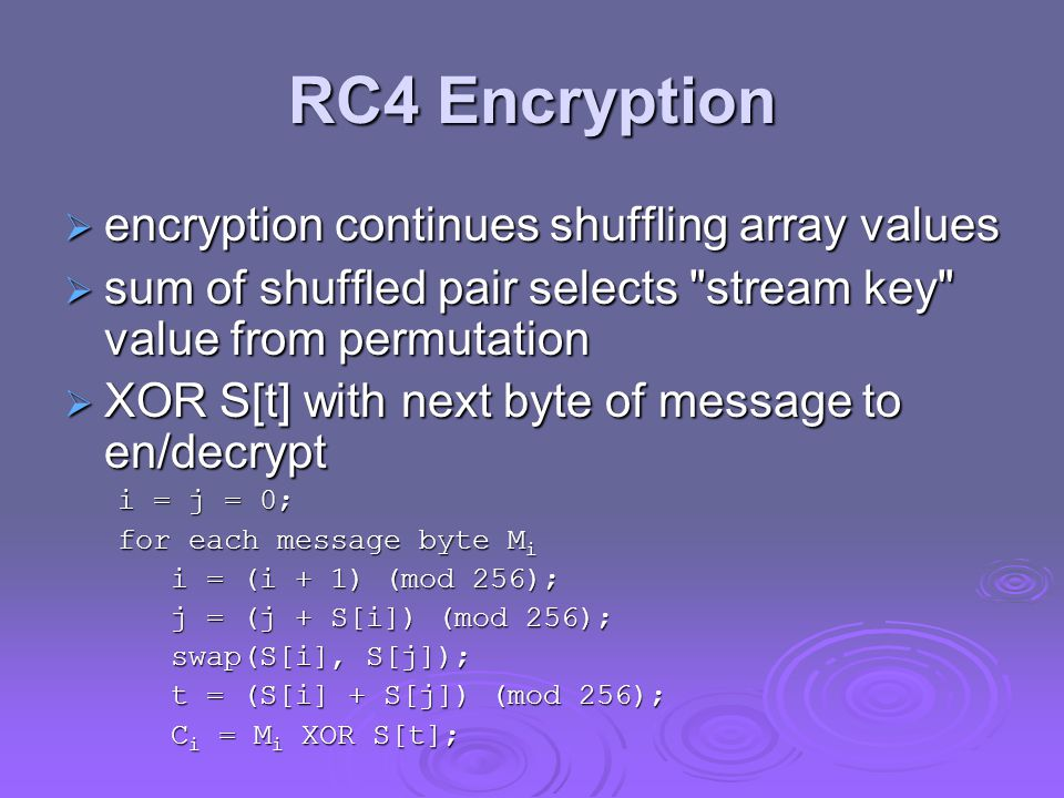 RC4 Encryption  encryption continues shuffling array values  sum of shuffled pair selects