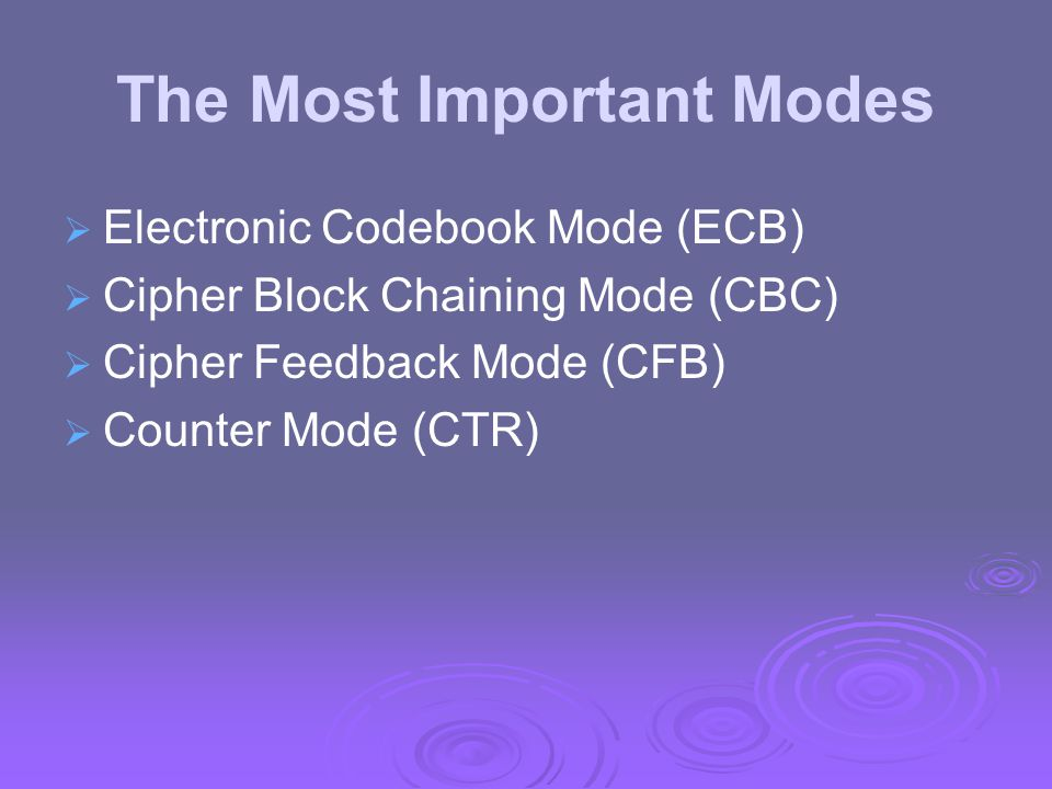 The Most Important Modes   Electronic Codebook Mode (ECB)   Cipher Block Chaining Mode (CBC)   Cipher Feedback Mode (CFB)   Counter Mode (CTR)