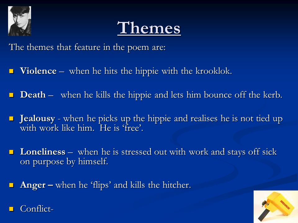 Themes The themes that feature in the poem are: Violence – when he hits the hippie with the krooklok.