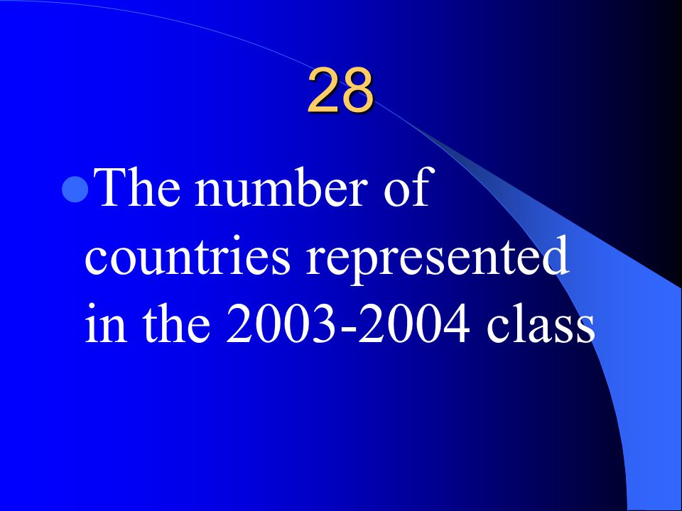 28 The number of countries represented in the 2003-2004 class