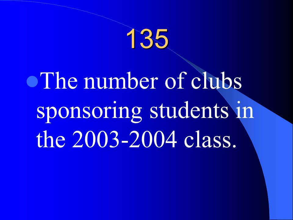 135 The number of clubs sponsoring students in the 2003-2004 class.