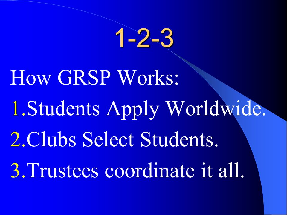 1-2-3 How GRSP Works: 1.Students Apply Worldwide. 2.Clubs Select Students.