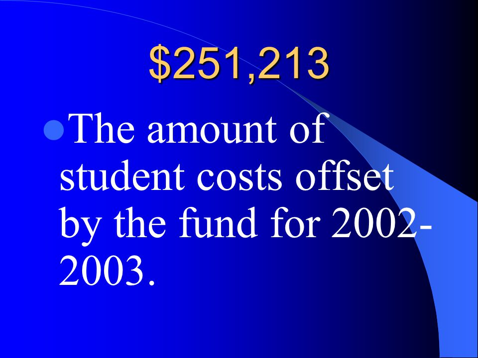 $251,213 The amount of student costs offset by the fund for 2002- 2003.