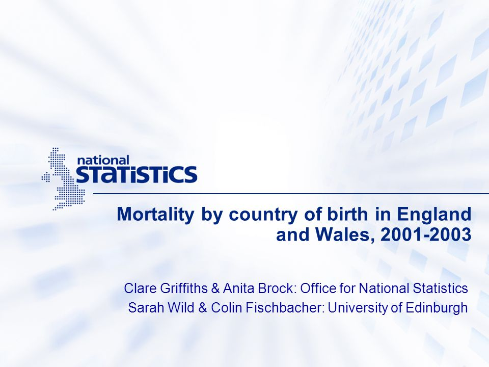 Mortality by country of birth in England and Wales, 2001-2003 Clare Griffiths & Anita Brock: Office for National Statistics Sarah Wild & Colin Fischba