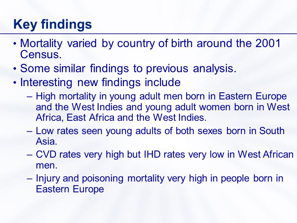 Key findings Mortality varied by country of birth around the 2001 Census.