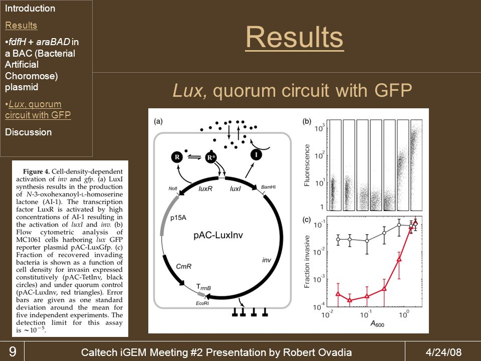 4/24/08Caltech iGEM Meeting #2 Presentation by Robert Ovadia Results 9 Lux, quorum circuit with GFP Introduction Results fdfH + araBAD in a BAC (Bacterial Artificial Choromose) plasmid Lux, quorum circuit with GFP Discussion