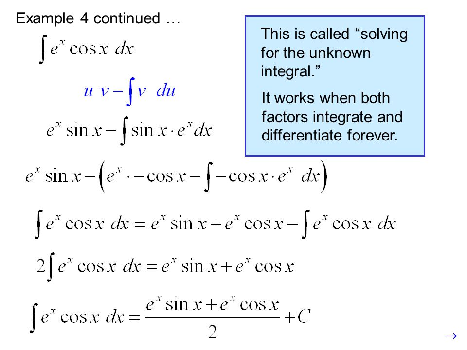 "Example 4 continued …This is called ""solving for the unknown integral."" It works when both factors integrate and differentiate forever."