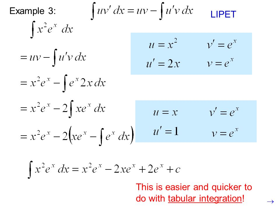 This is still a product, so we need to use integration by parts again. Example 3: LIPET This is easier and quicker to do with tabular integration!