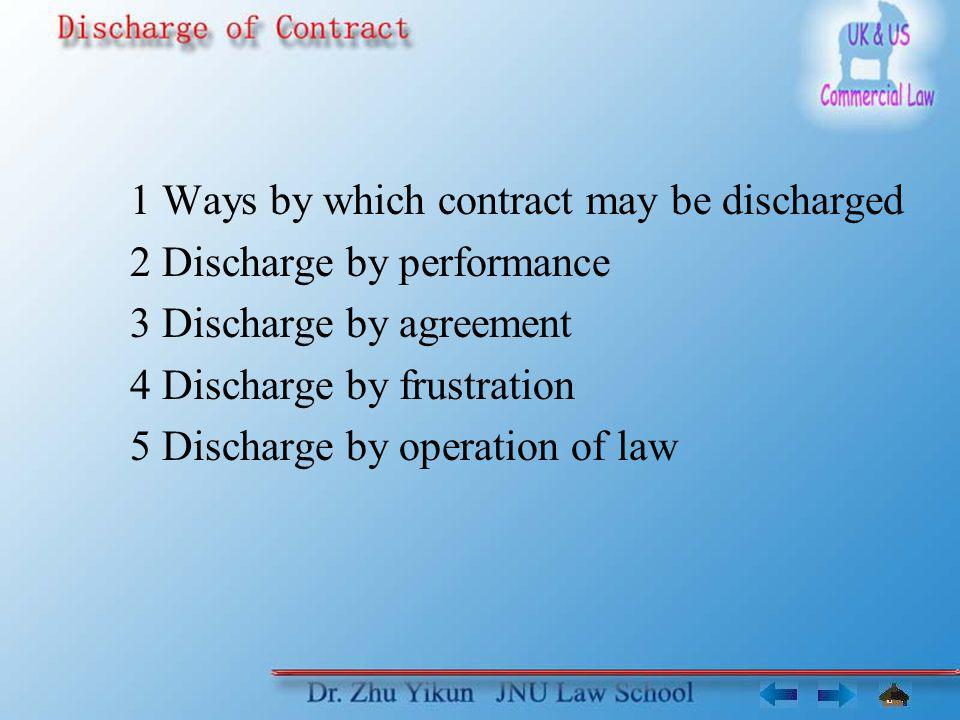 1 Ways by which contract may be discharged 2 Discharge by performance 3 Discharge by agreement 4 Discharge by frustration 5 Discharge by operation of law