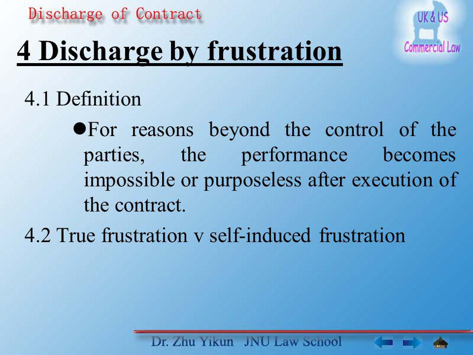 4 Discharge by frustration 4.1 Definition For reasons beyond the control of the parties, the performance becomes impossible or purposeless after execution of the contract.