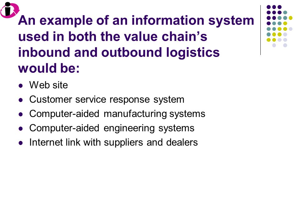 An example of an information system used in both the value chain's inbound and outbound logistics would be: Web site Customer service response system