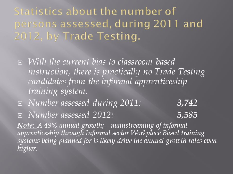  With the current bias to classroom based instruction, there is practically no Trade Testing candidates from the informal apprenticeship training system.