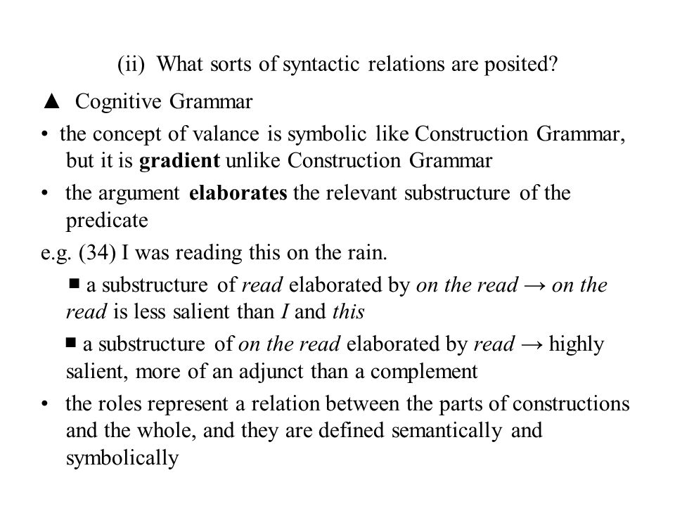 (ii) What sorts of syntactic relations are posited? ▲ Cognitive Grammar the concept of valance is symbolic like Construction Grammar, but it is gradie