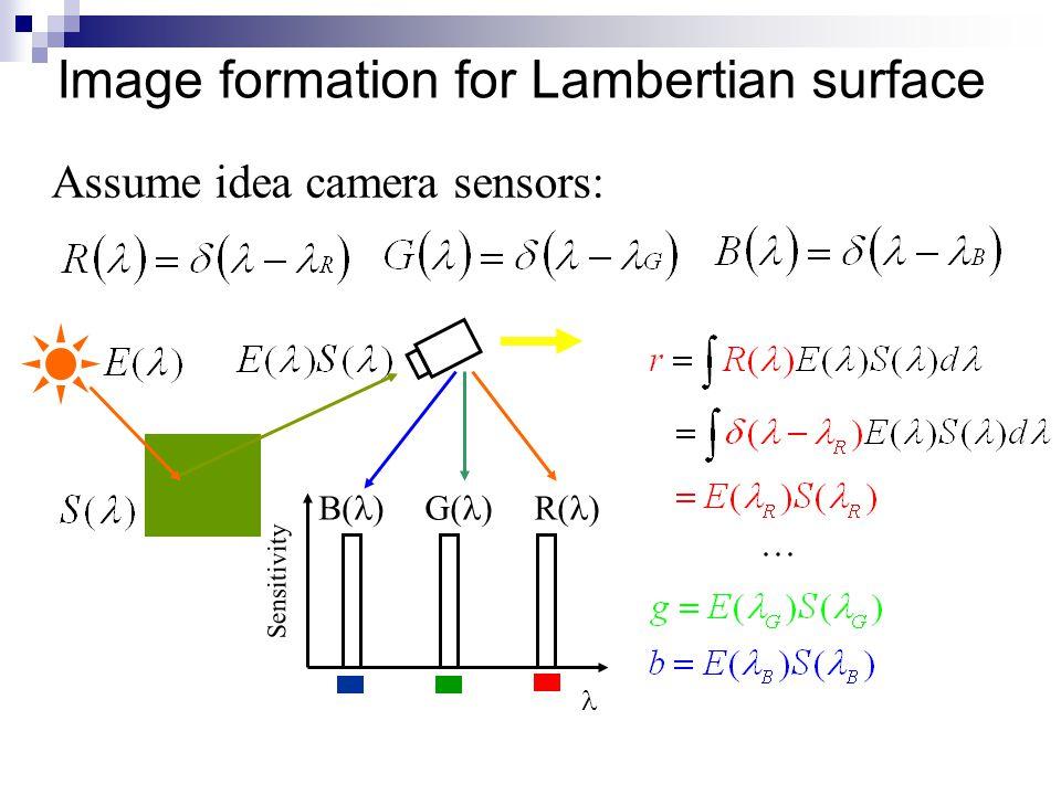 Image formation for Lambertian surface Assume idea camera sensors: G( ) Sensitivity B( )R( )