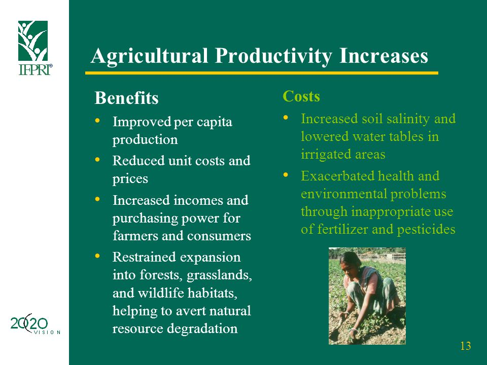 13 Agricultural Productivity Increases Benefits Improved per capita production Reduced unit costs and prices Increased incomes and purchasing power fo