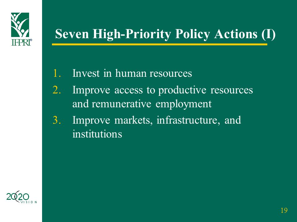 19 Seven High-Priority Policy Actions (I) 1.Invest in human resources 2.Improve access to productive resources and remunerative employment 3.Improve m