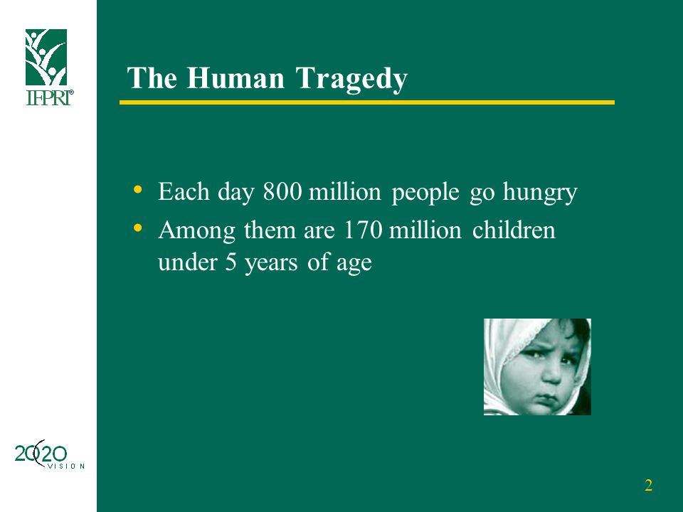 2 The Human Tragedy Each day 800 million people go hungry Among them are 170 million children under 5 years of age