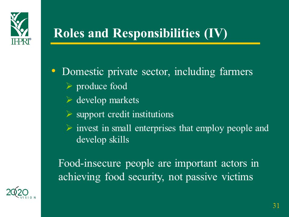 31 Roles and Responsibilities (IV) Domestic private sector, including farmers  produce food  develop markets  support credit institutions  invest