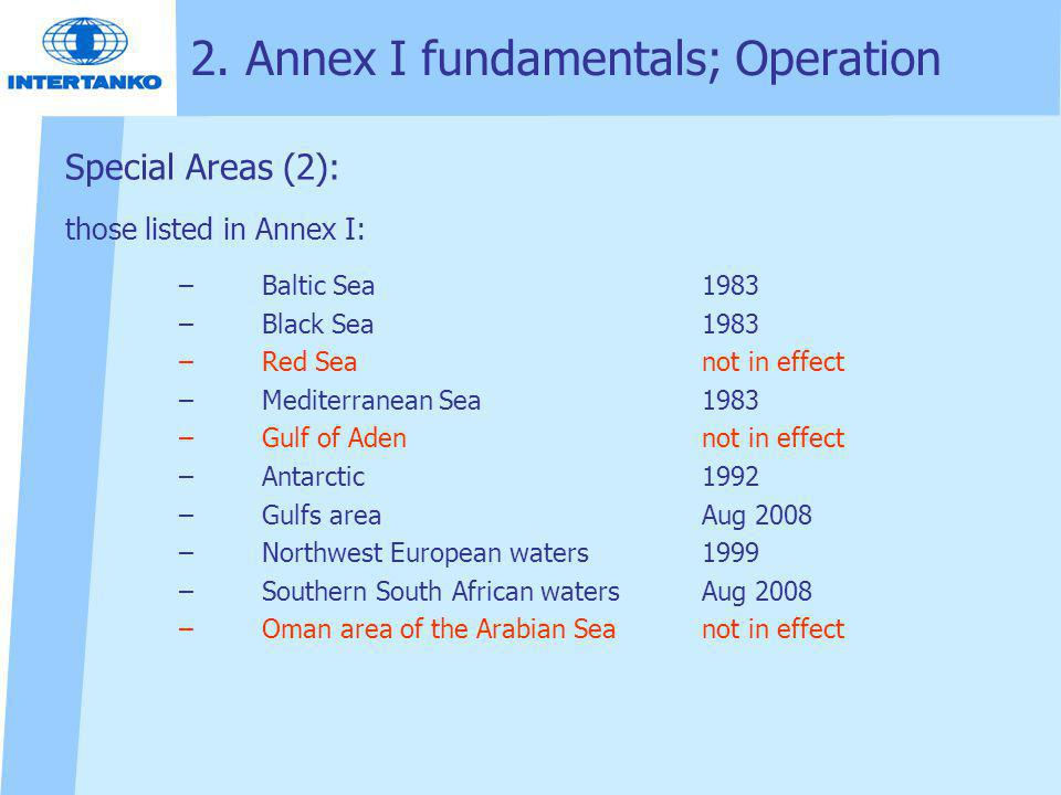 2. Annex I fundamentals; Operation Special Areas (2): those listed in Annex I: –Baltic Sea1983 –Black Sea1983 –Red Seanot in effect –Mediterranean Sea