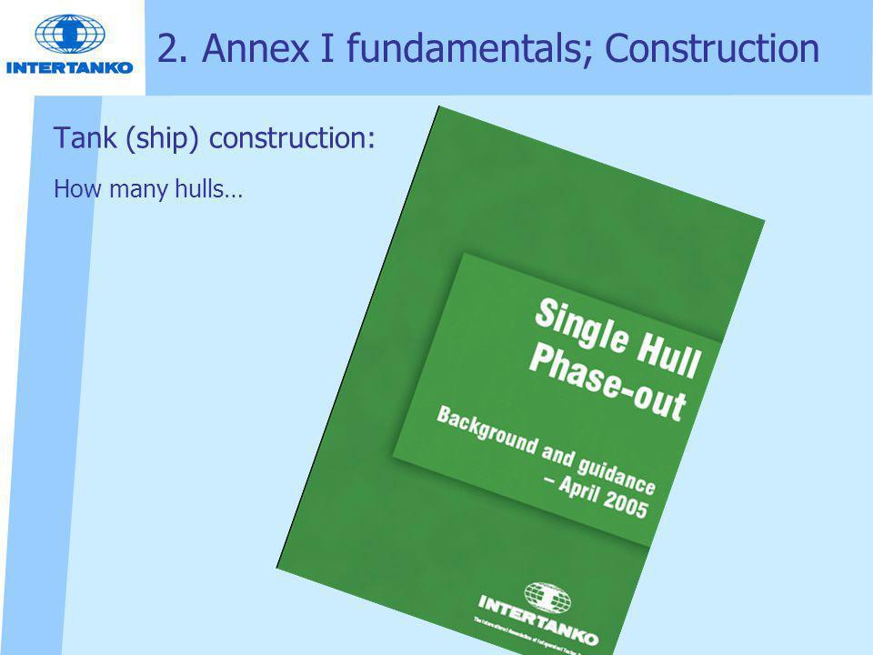 2. Annex I fundamentals; Construction Tank (ship) construction: How many hulls…