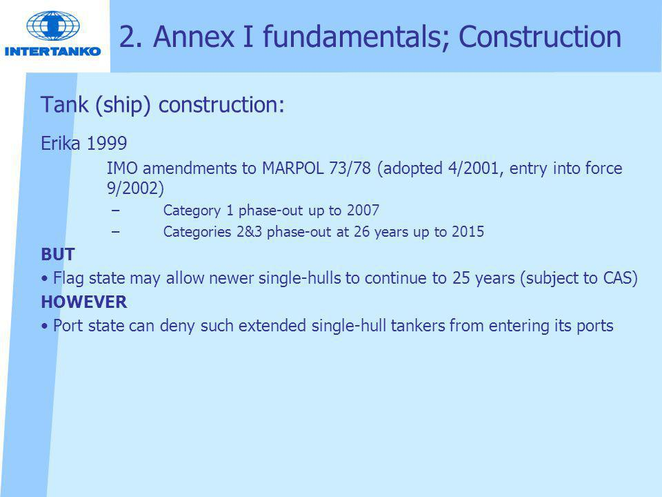 2. Annex I fundamentals; Construction Tank (ship) construction: Erika 1999 IMO amendments to MARPOL 73/78 (adopted 4/2001, entry into force 9/2002) –C