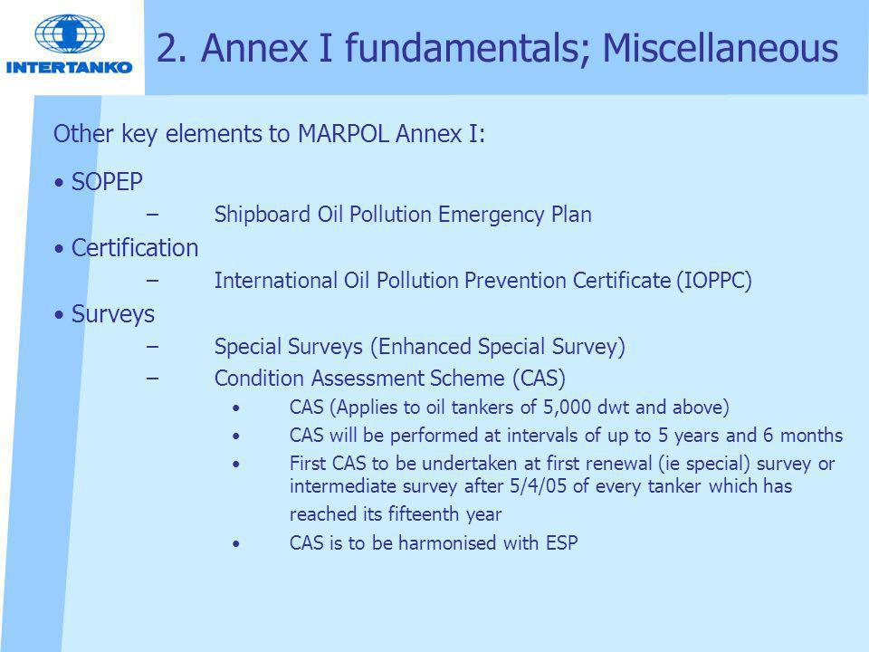 2. Annex I fundamentals; Miscellaneous Other key elements to MARPOL Annex I: SOPEP –Shipboard Oil Pollution Emergency Plan Certification –Internationa