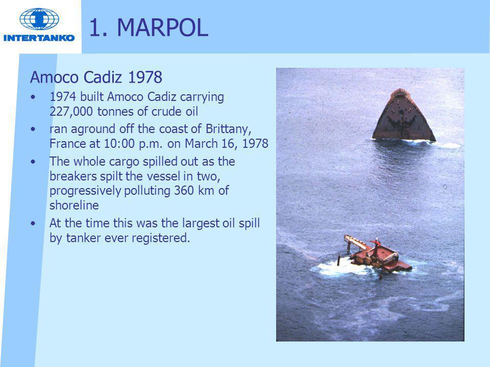 1. MARPOL Amoco Cadiz 1978 1974 built Amoco Cadiz carrying 227,000 tonnes of crude oil ran aground off the coast of Brittany, France at 10:00 p.m. on