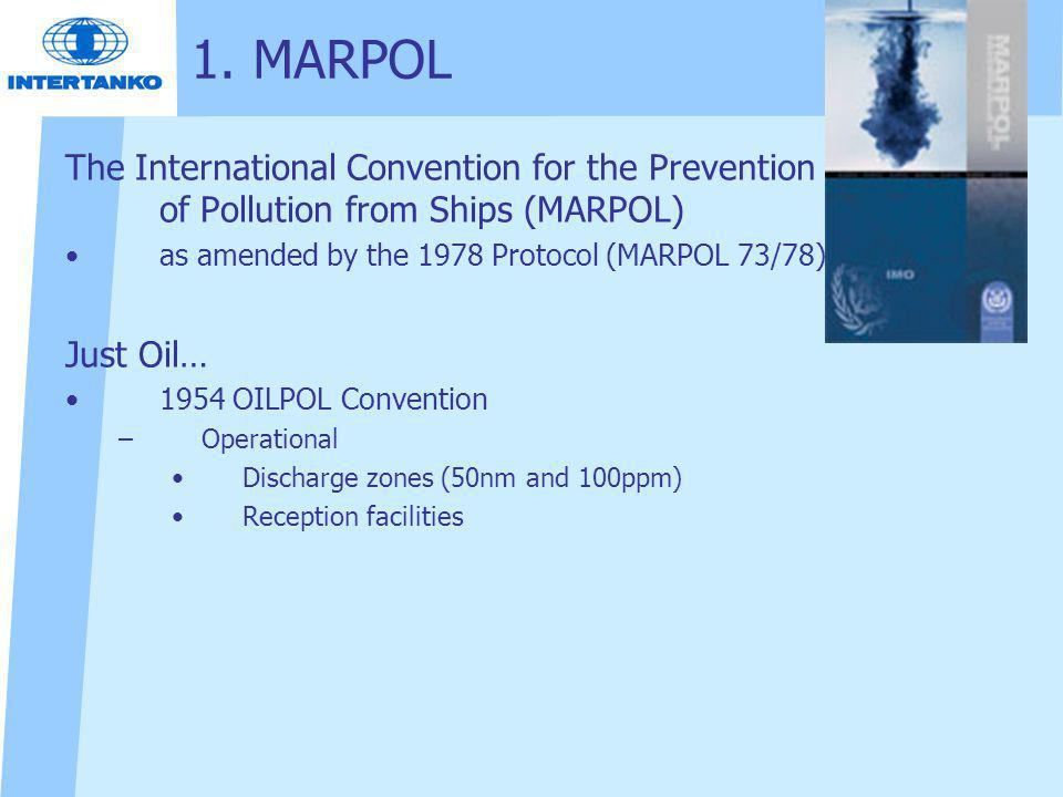 The International Convention for the Prevention of Pollution from Ships (MARPOL) as amended by the 1978 Protocol (MARPOL 73/78) Just Oil… 1954 OILPOL Convention –Operational Discharge zones (50nm and 100ppm) Reception facilities 1.