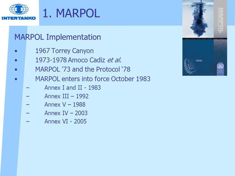 MARPOL Implementation 1967 Torrey Canyon 1973-1978 Amoco Cadiz et al.