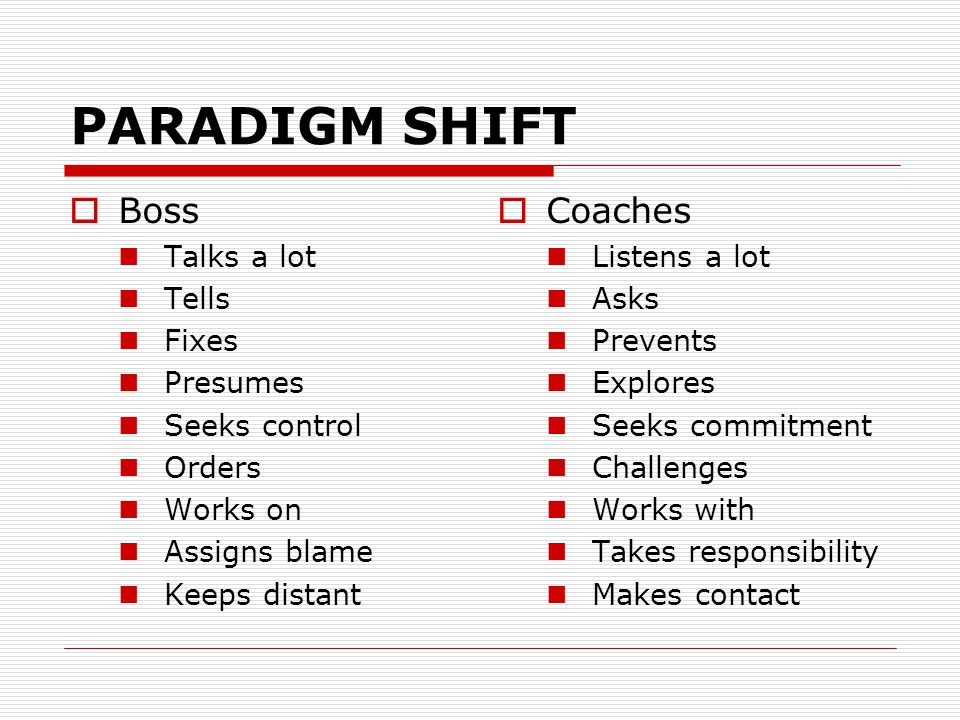PARADIGM SHIFT  Boss Talks a lot Tells Fixes Presumes Seeks control Orders Works on Assigns blame Keeps distant  Coaches Listens a lot Asks Prevents