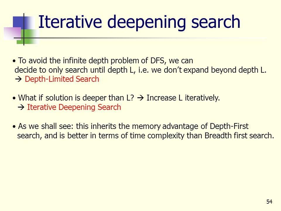 54 Iterative deepening search To avoid the infinite depth problem of DFS, we can decide to only search until depth L, i.e. we don't expand beyond dept