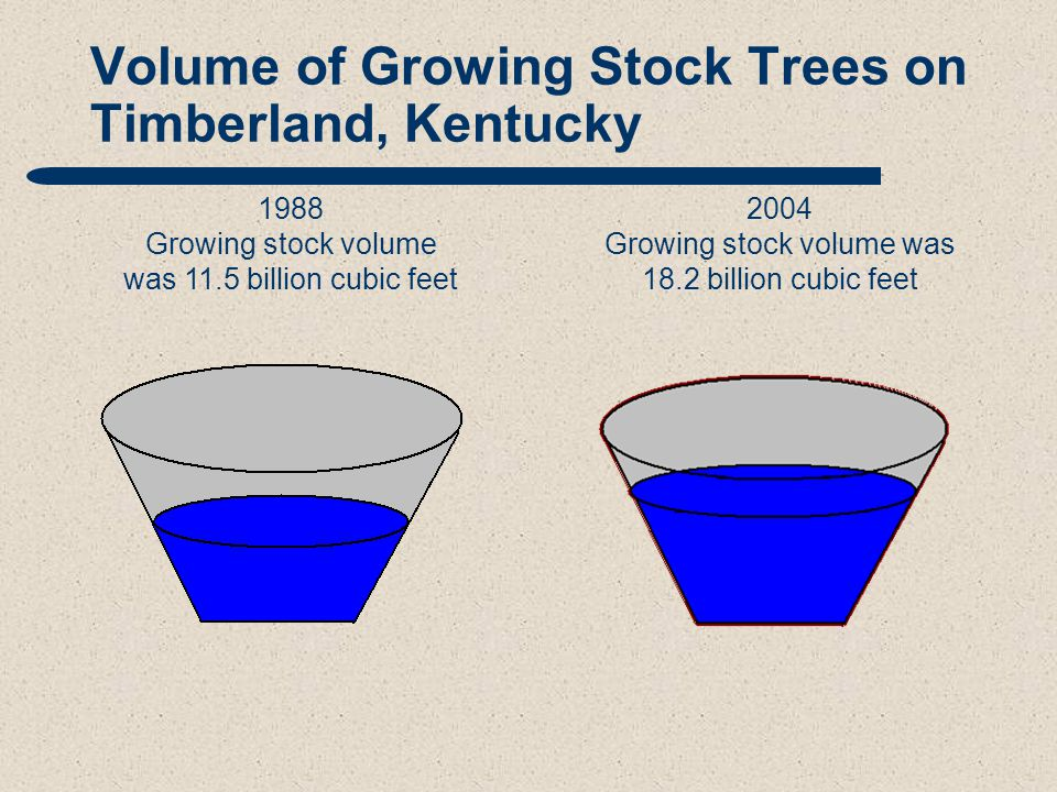 Volume of Growing Stock Trees on Timberland, Kentucky 1988 Growing stock volume was 11.5 billion cubic feet 2004 Growing stock volume was 18.2 billion cubic feet