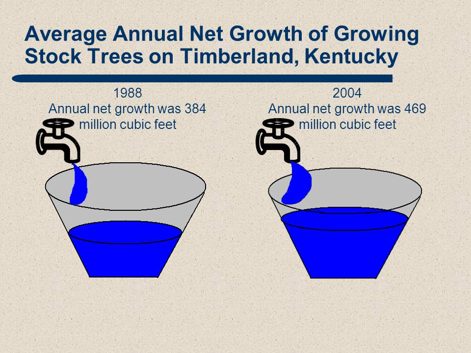 Average Annual Net Growth of Growing Stock Trees on Timberland, Kentucky 1988 Annual net growth was 384 million cubic feet 2004 Annual net growth was 469 million cubic feet