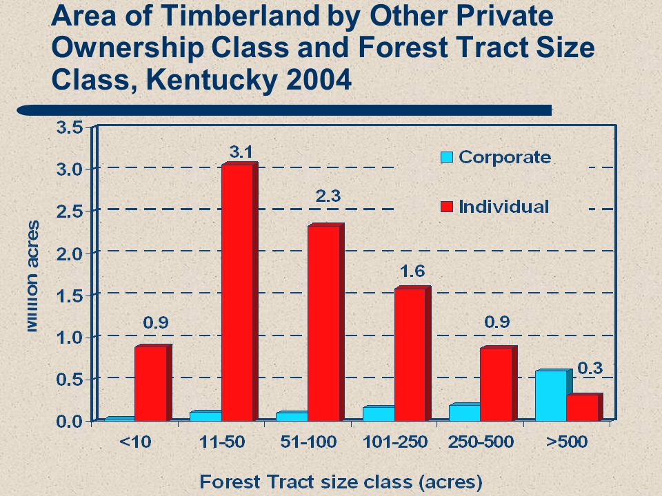 Area of Timberland by Other Private Ownership Class and Forest Tract Size Class, Kentucky 2004