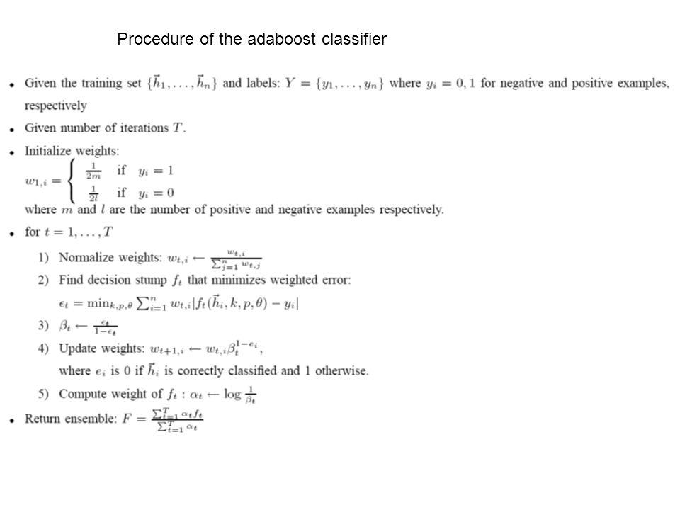 Procedure of the adaboost classifier