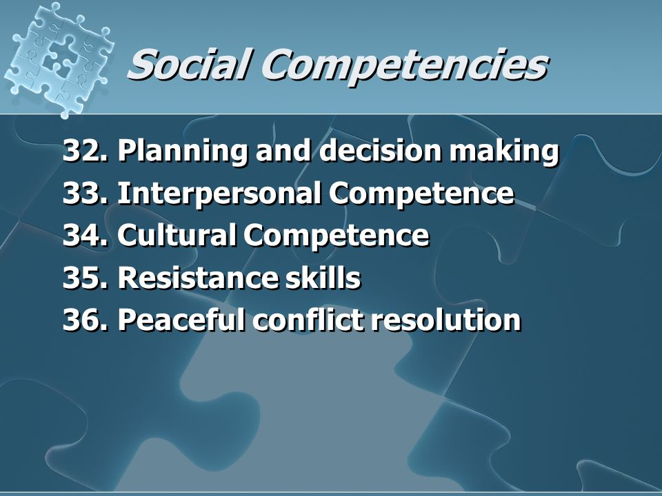 Social Competencies 32. Planning and decision making 33. Interpersonal Competence 34. Cultural Competence 35. Resistance skills 36. Peaceful conflict