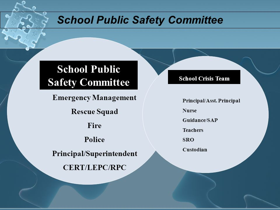 School Public Safety Committee School Crisis Team Emergency Management Rescue Squad Fire Police Principal/Superintendent CERT/LEPC/RPC Principal/Asst.
