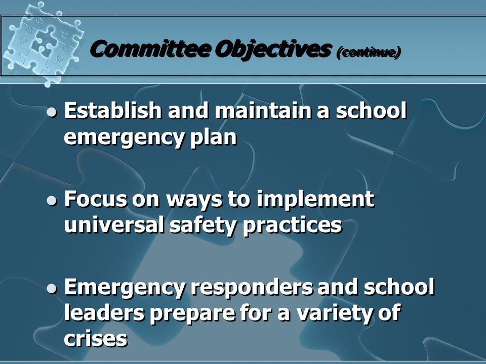 Committee Objectives (continue) Establish and maintain a school emergency plan Focus on ways to implement universal safety practices Emergency respond