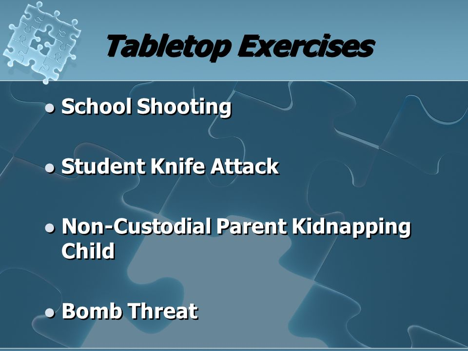 Tabletop Exercises School Shooting Student Knife Attack Non-Custodial Parent Kidnapping Child Bomb Threat School Shooting Student Knife Attack Non-Cus