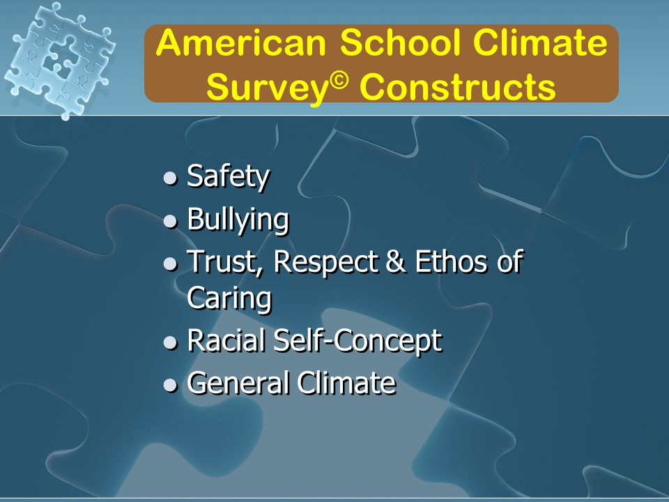 American School Climate Survey © Constructs Safety Bullying Trust, Respect & Ethos of Caring Racial Self-Concept General Climate Safety Bullying Trust