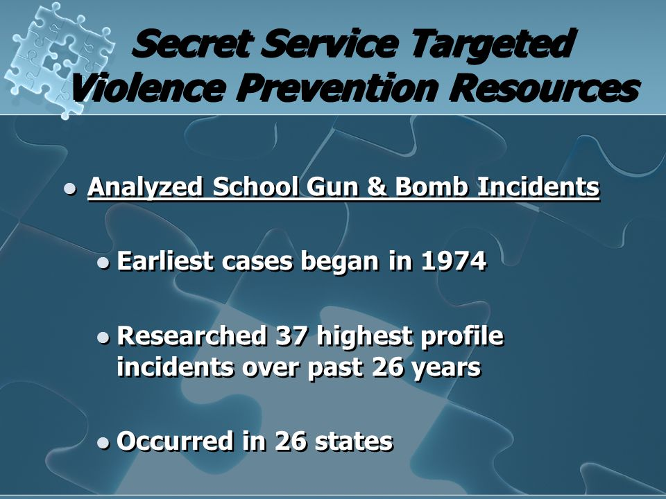 Secret Service Targeted Violence Prevention Resources Analyzed School Gun & Bomb Incidents Earliest cases began in 1974 Researched 37 highest profile