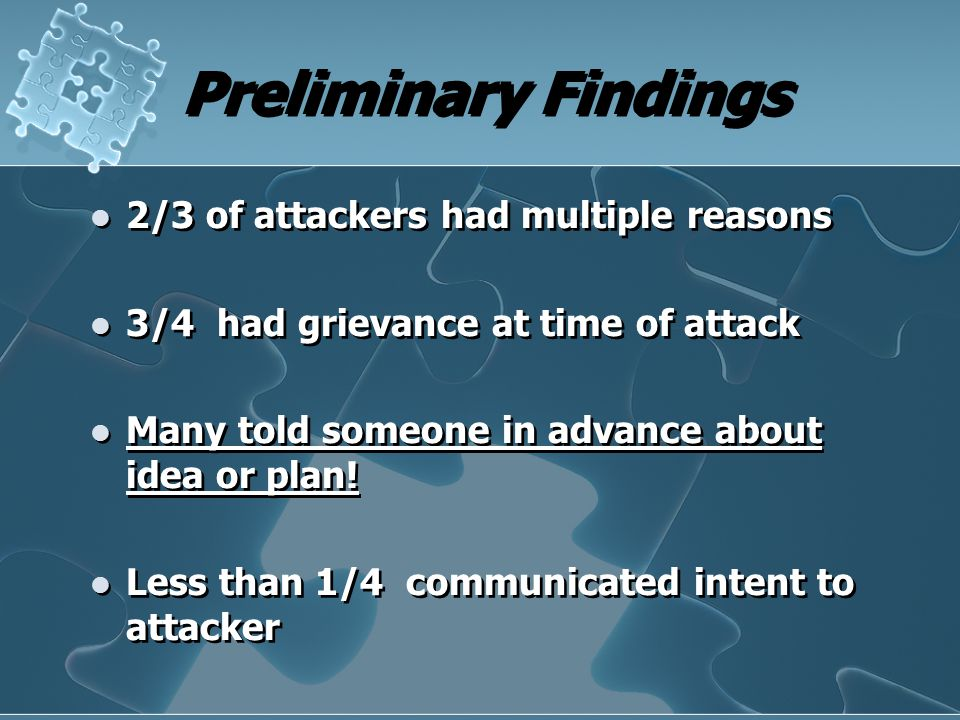 Preliminary Findings 2/3 of attackers had multiple reasons 3/4 had grievance at time of attack Many told someone in advance about idea or plan! Less t