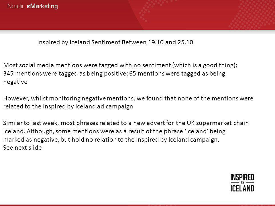 Most social media mentions were tagged with no sentiment (which is a good thing); 345 mentions were tagged as being positive; 65 mentions were tagged as being negative However, whilst monitoring negative mentions, we found that none of the mentions were related to the Inspired by Iceland ad campaign Similar to last week, most phrases related to a new advert for the UK supermarket chain Iceland.