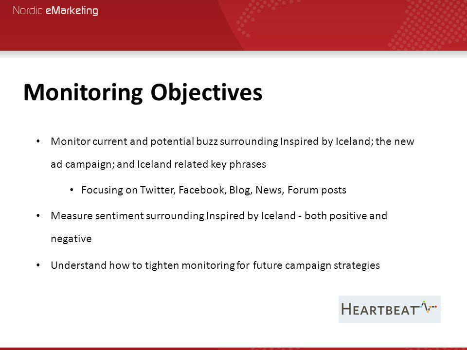 Monitor current and potential buzz surrounding Inspired by Iceland; the new ad campaign; and Iceland related key phrases Focusing on Twitter, Facebook, Blog, News, Forum posts Measure sentiment surrounding Inspired by Iceland - both positive and negative Understand how to tighten monitoring for future campaign strategies Monitoring Objectives