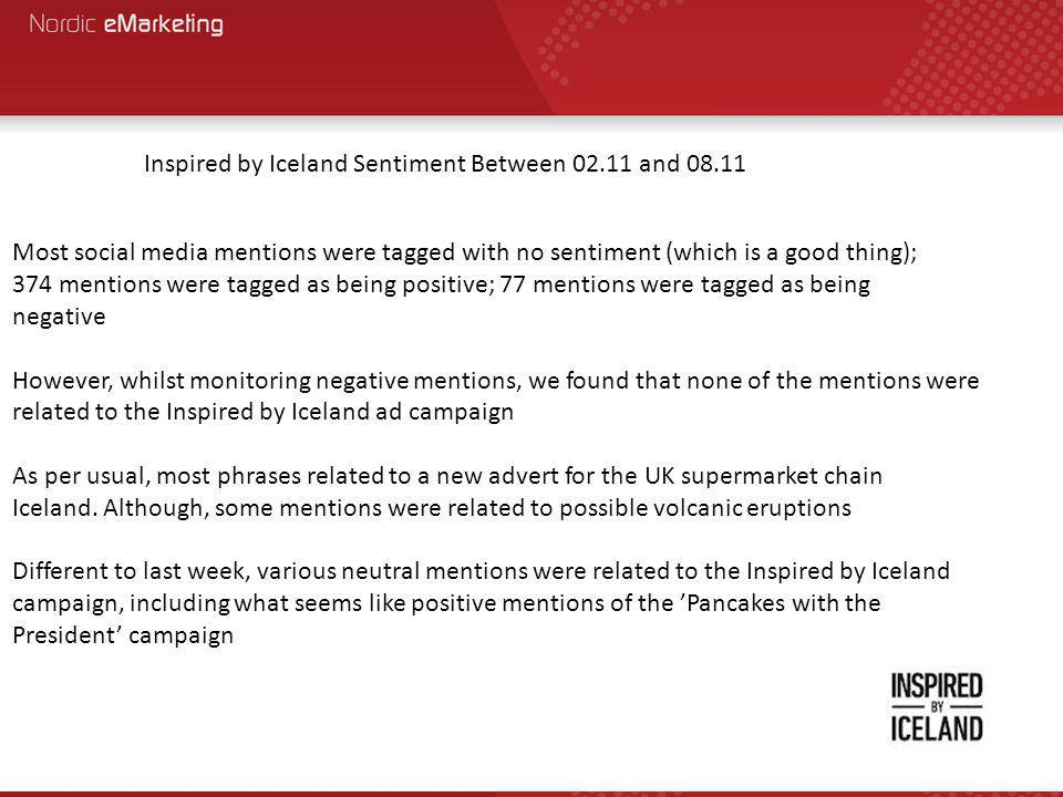 Most social media mentions were tagged with no sentiment (which is a good thing); 374 mentions were tagged as being positive; 77 mentions were tagged as being negative However, whilst monitoring negative mentions, we found that none of the mentions were related to the Inspired by Iceland ad campaign As per usual, most phrases related to a new advert for the UK supermarket chain Iceland.