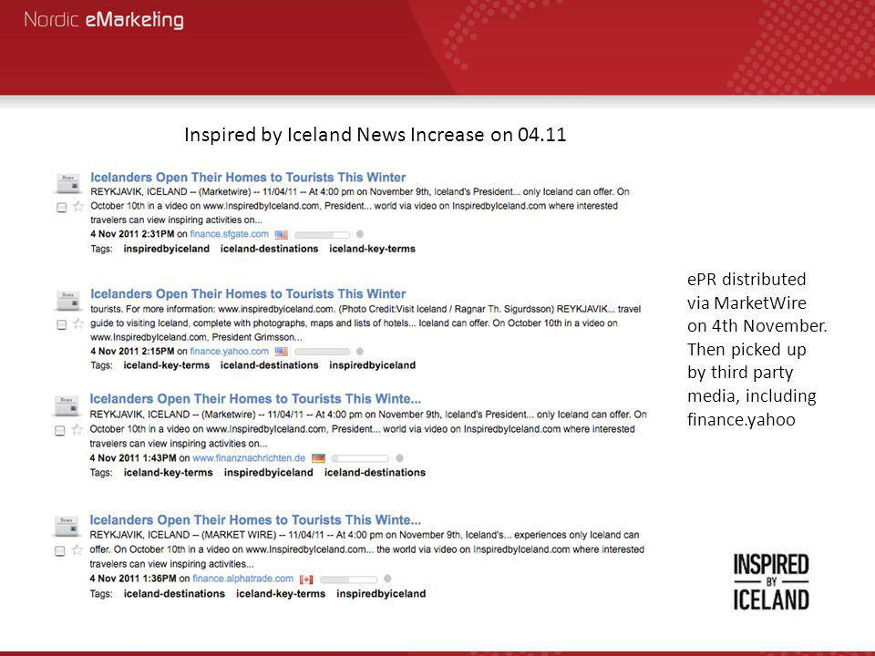 Inspired by Iceland News Increase on 04.11 ePR distributed via MarketWire on 4th November.