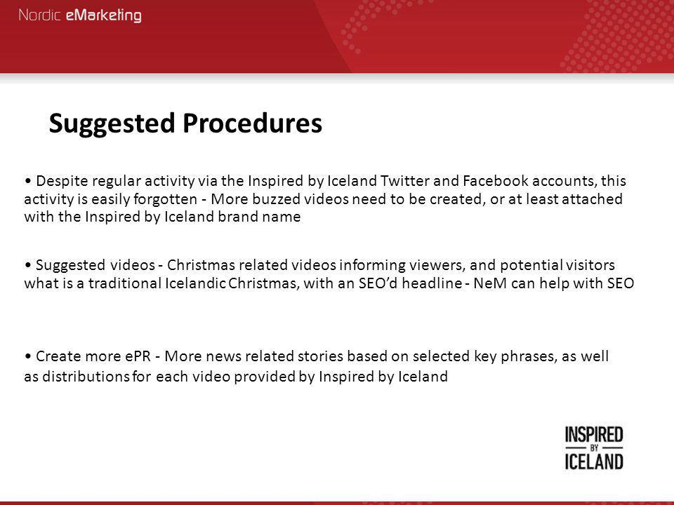 Suggested Procedures Despite regular activity via the Inspired by Iceland Twitter and Facebook accounts, this activity is easily forgotten - More buzzed videos need to be created, or at least attached with the Inspired by Iceland brand name Suggested videos - Christmas related videos informing viewers, and potential visitors what is a traditional Icelandic Christmas, with an SEO'd headline - NeM can help with SEO Create more ePR - More news related stories based on selected key phrases, as well as distributions for each video provided by Inspired by Iceland