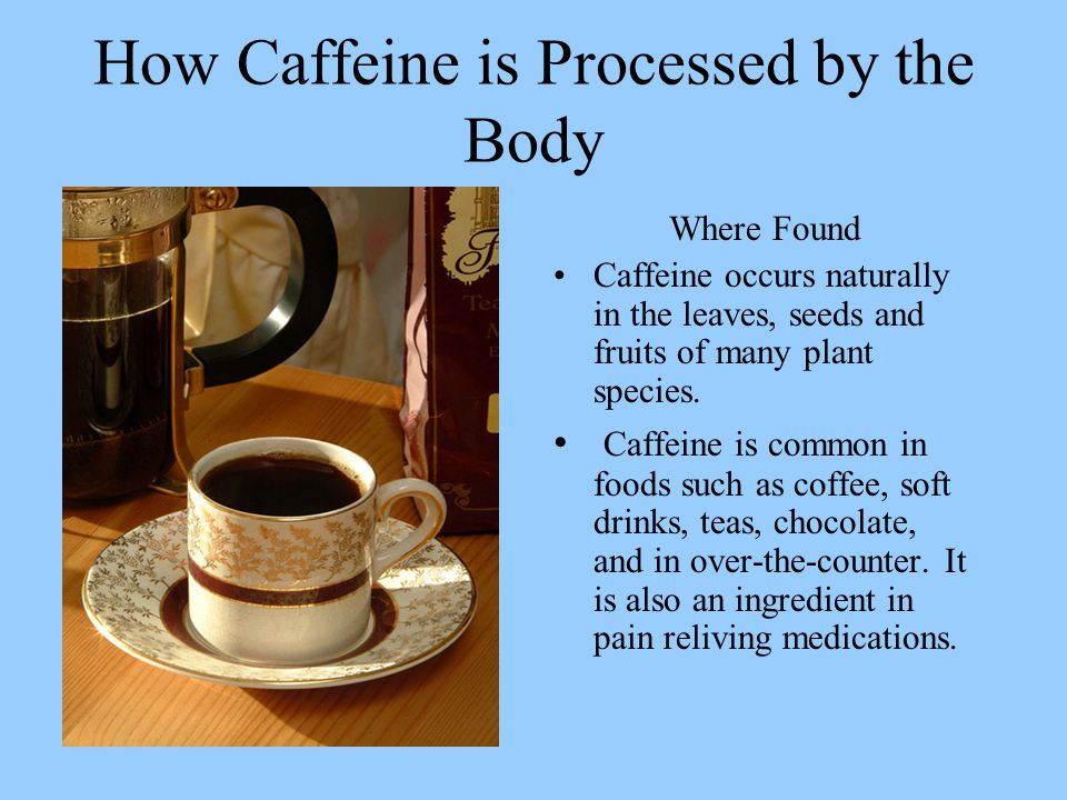 How Caffeine is Processed by the Body Where Found Caffeine occurs naturally in the leaves, seeds and fruits of many plant species.