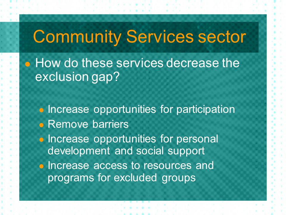 Community Services sector How do these services decrease the exclusion gap? Increase opportunities for participation Remove barriers Increase opportun