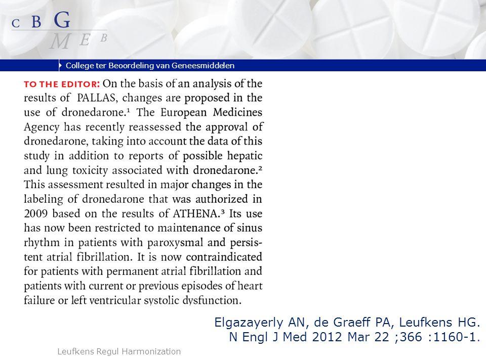 College ter Beoordeling van Geneesmiddelen Leufkens Regul Harmonization Elgazayerly AN, de Graeff PA, Leufkens HG.